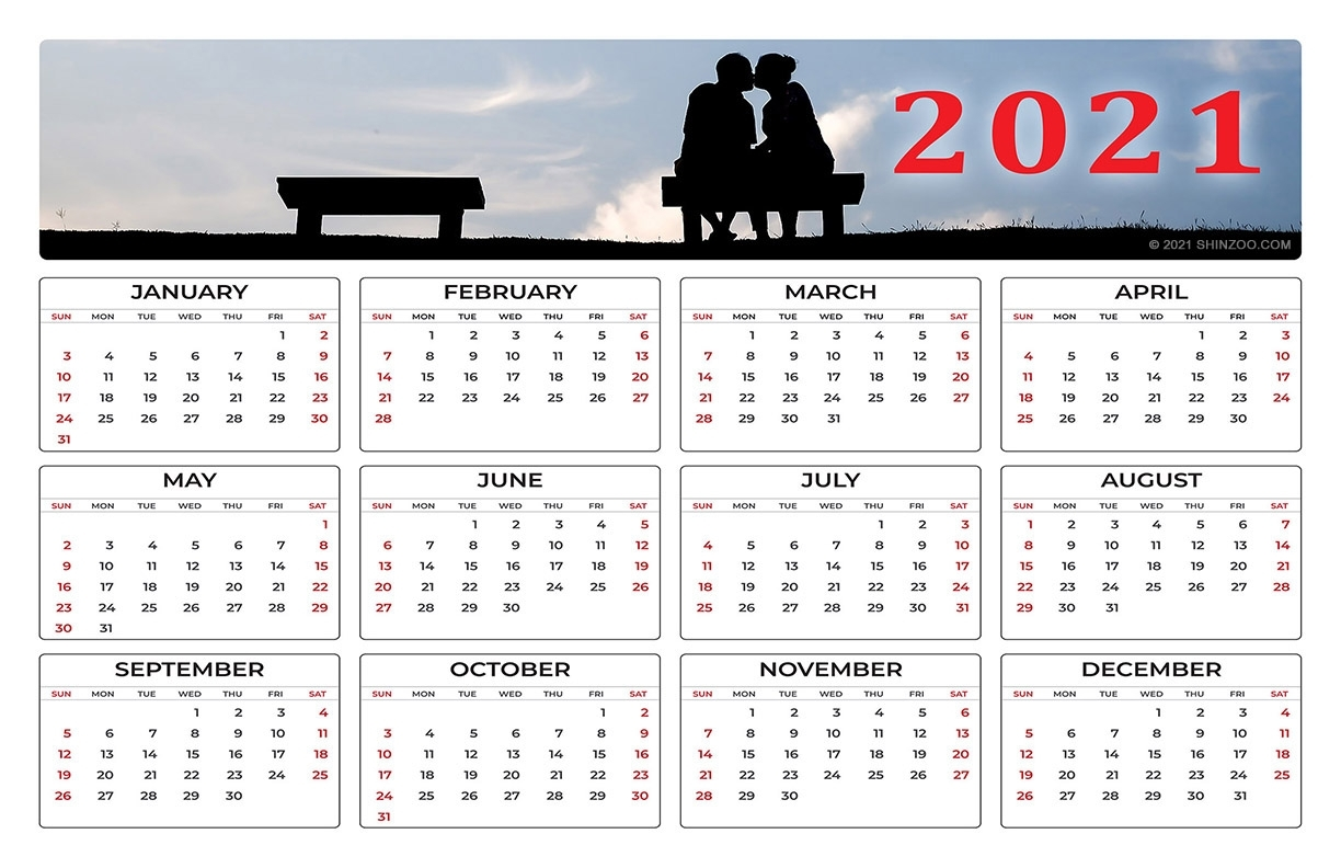 Couple In Love: 2021 Calendar 11X17 Printable Template