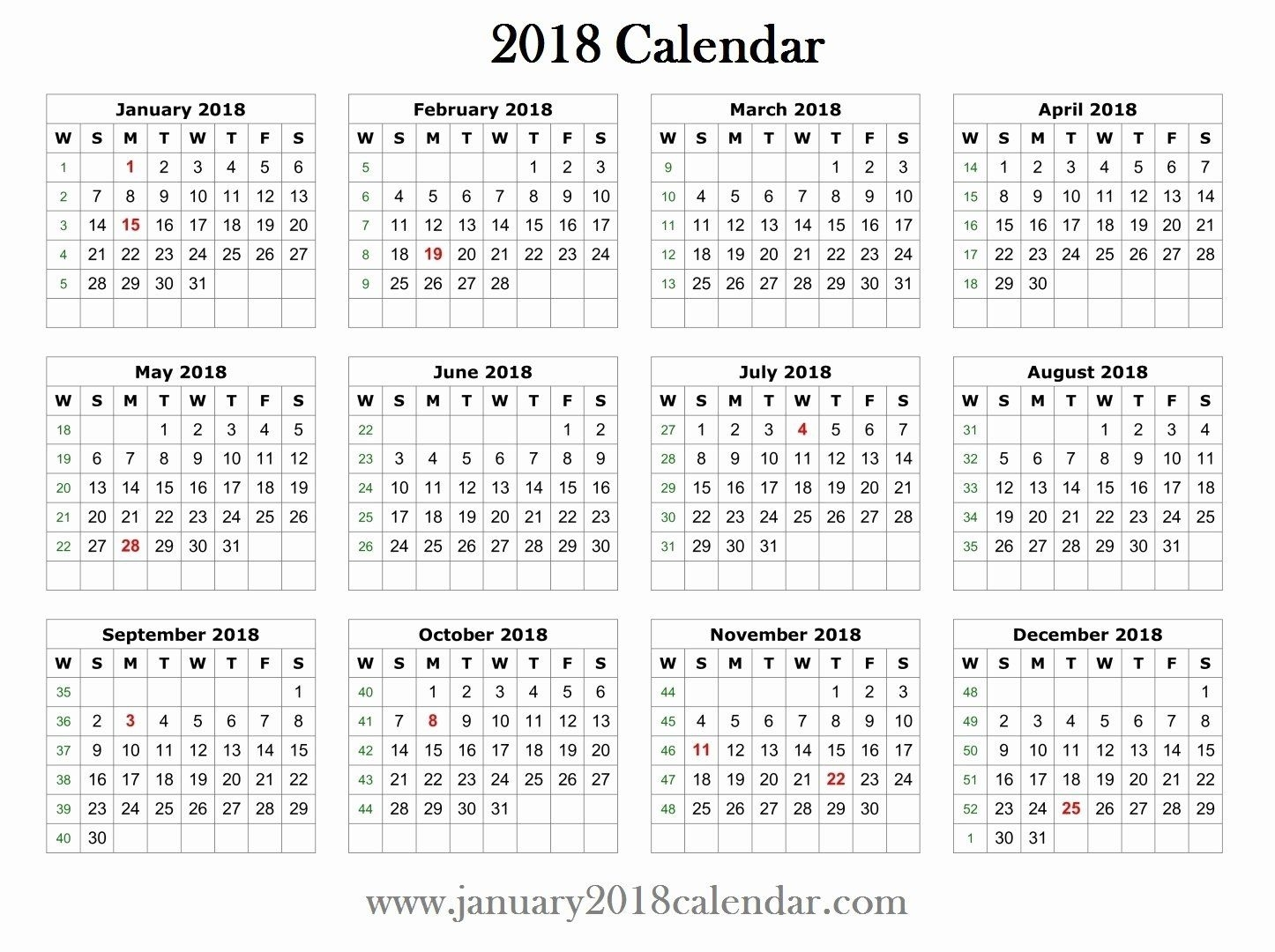 Create Calendar In Word Lovely 2018 Printable Word Calendar