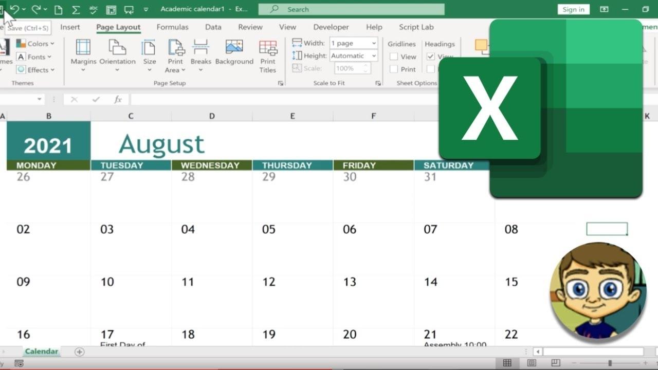 Creating A Calendar In Excel