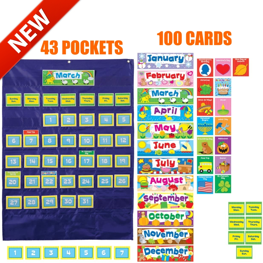 Custom Calendar Pocket Chart Teacher Classroom School Children Organize  Wall Fun