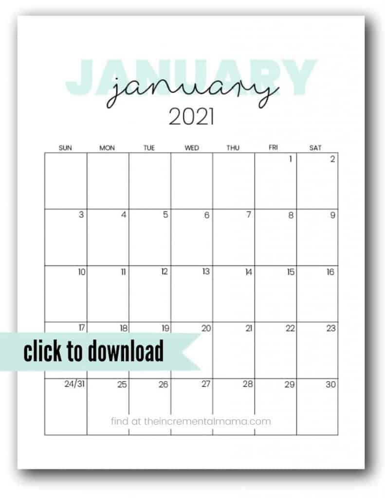 Cute 2021 Printable Calendar (12 Free Printables)