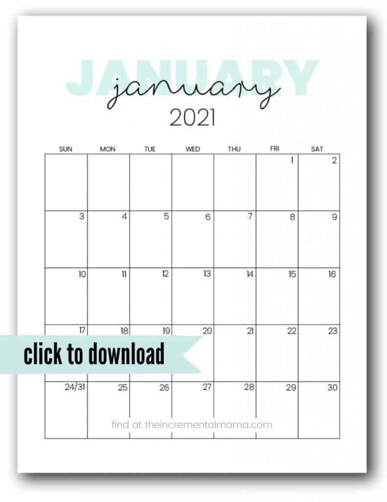 Cute 2021 Printable Calendar (12 Free Printables)