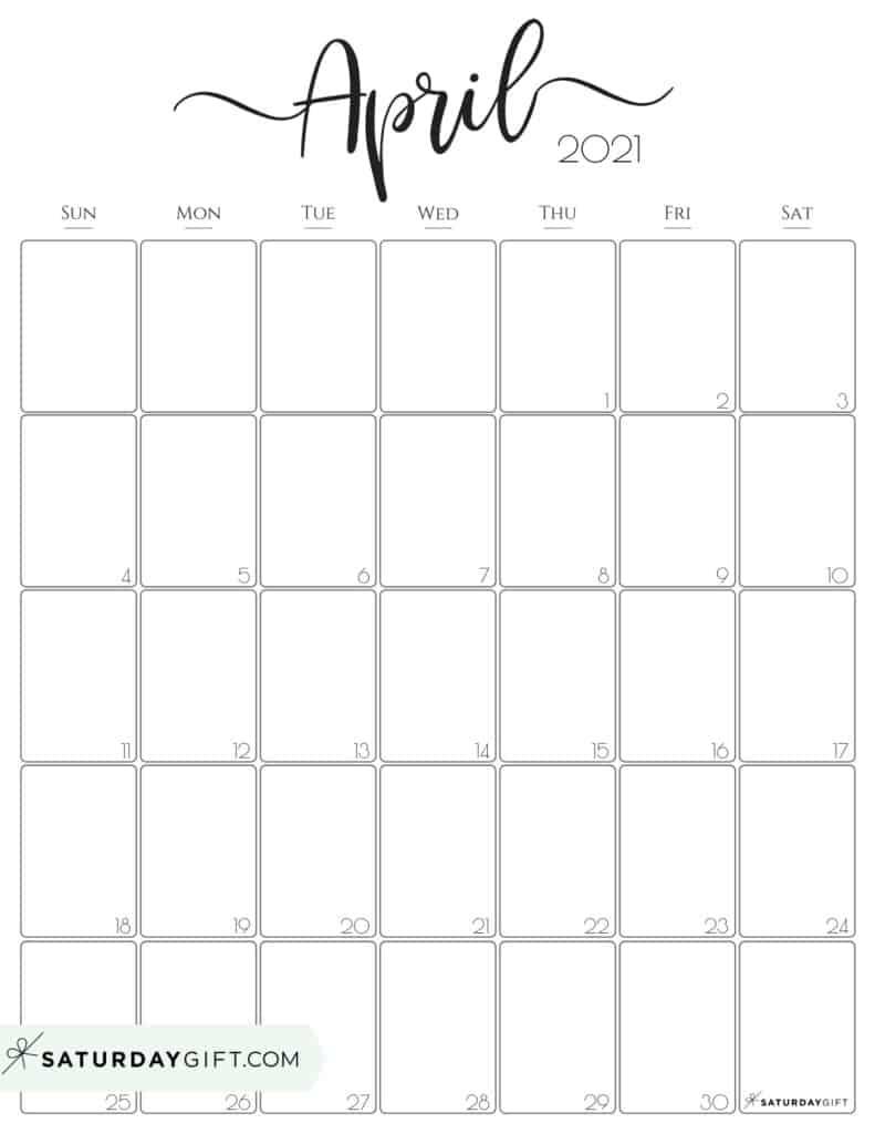 Cute (& Free!) Printable April 2021 Calendar   Saturdaygift