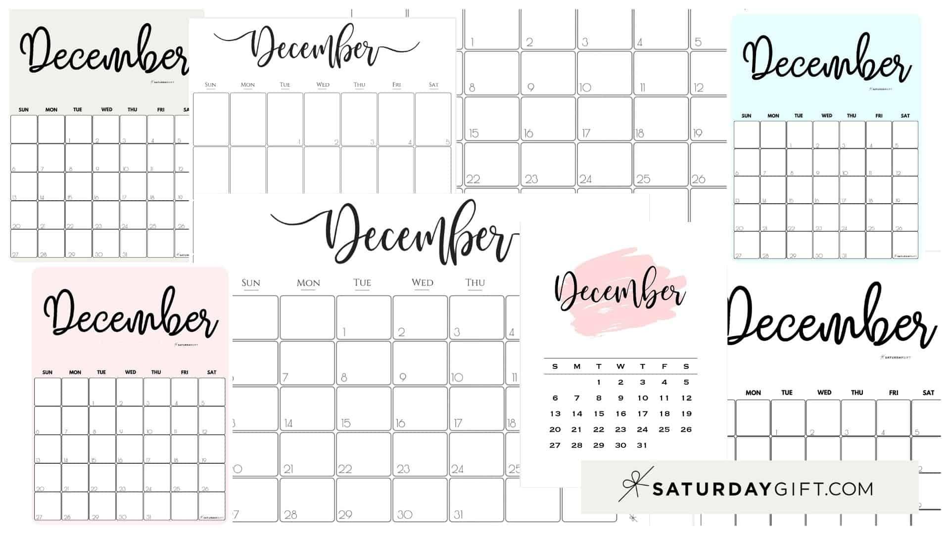 Cute (& Free!) Printable December 2020 Calendar | Saturdaygift