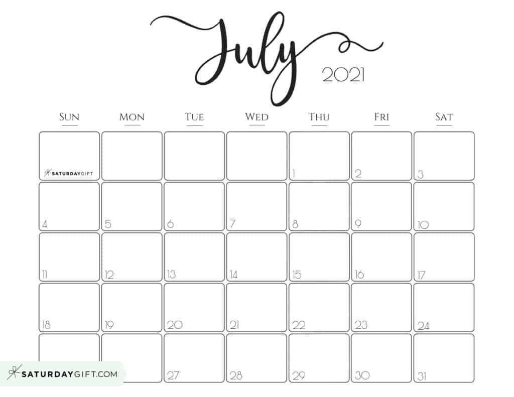 Cute (& Free!) Printable July 2021 Calendar | Saturdaygift