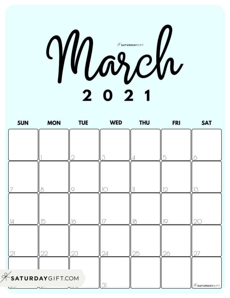 Cute (& Free!) Printable March 2021 Calendar   Saturdaygift