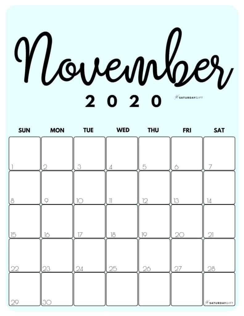 Cute (& Free!) Printable November 2020 Calendar   Saturdaygift