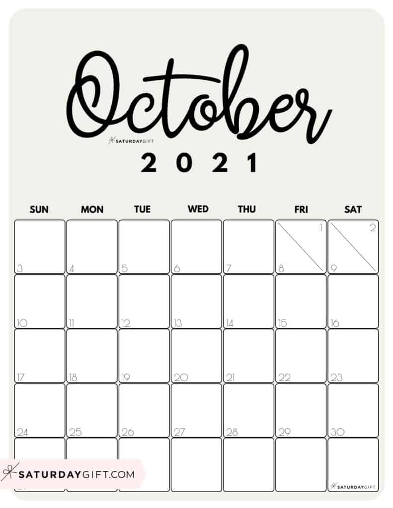 Month At A Glance Octobe 2021 | Month Calendar Printable