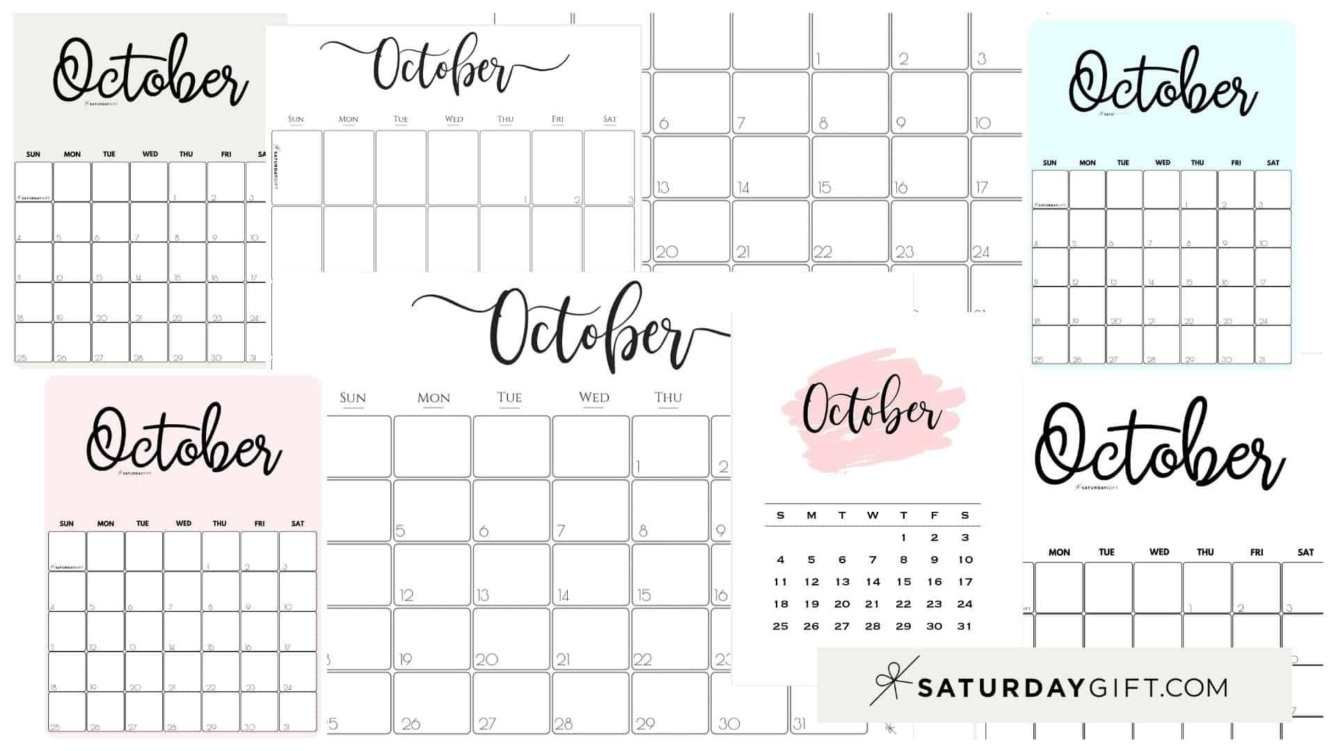 Cute (& Free!) Printable October 2021 Calendar | | Saturdaygift