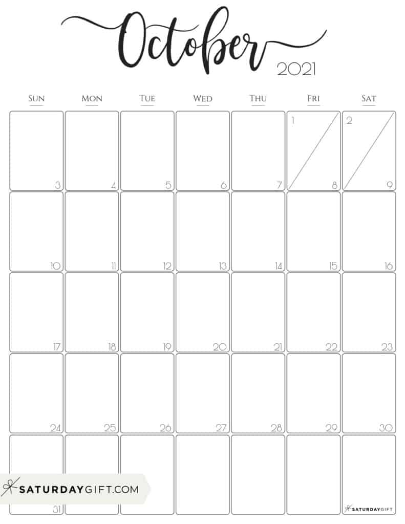 October 2021 Calendar For Kids | Month Calendar Printable