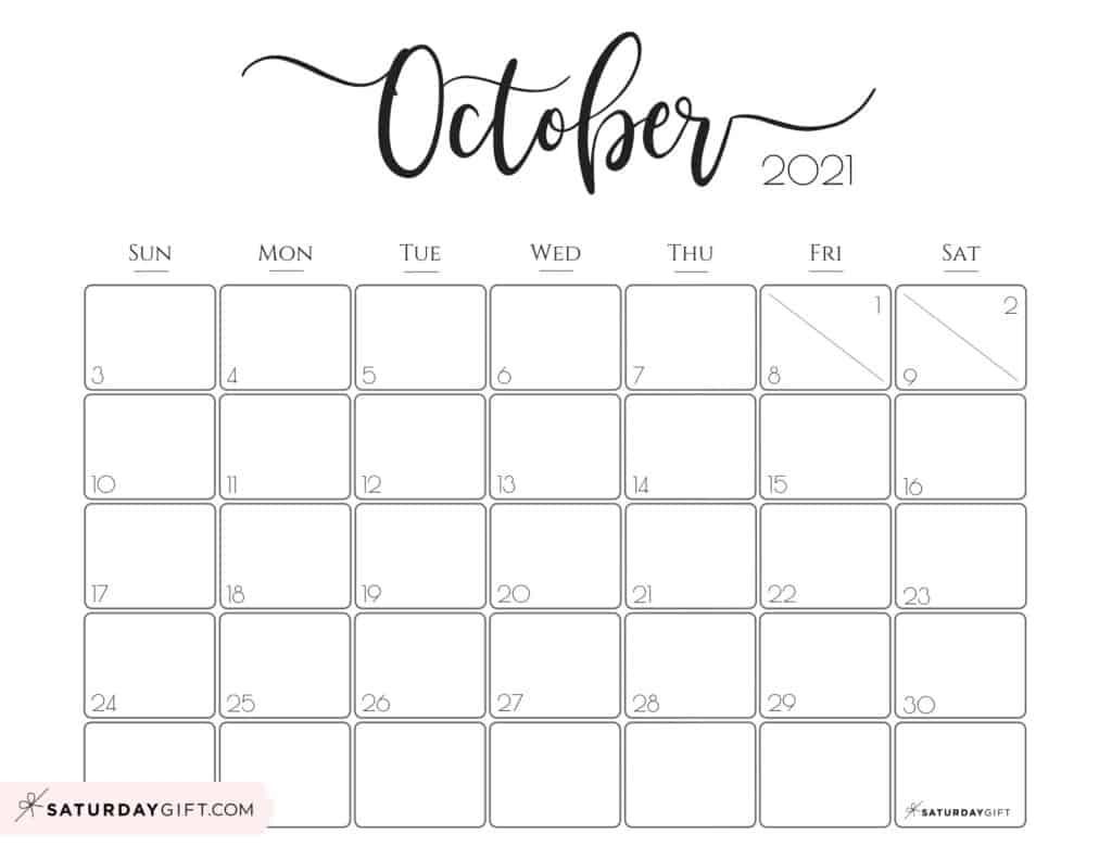 Cute (& Free!) Printable October 2021 Calendar     Saturdaygift