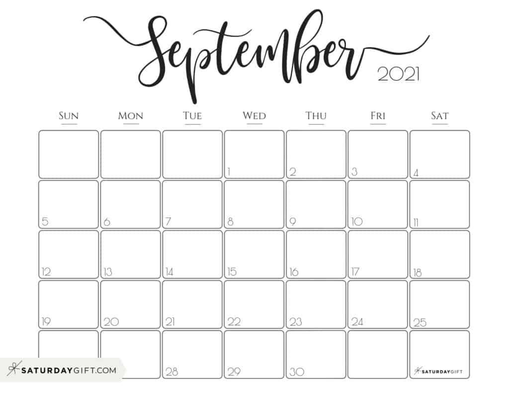 Cute (& Free!) Printable September 2021 Calendar | Saturdaygift