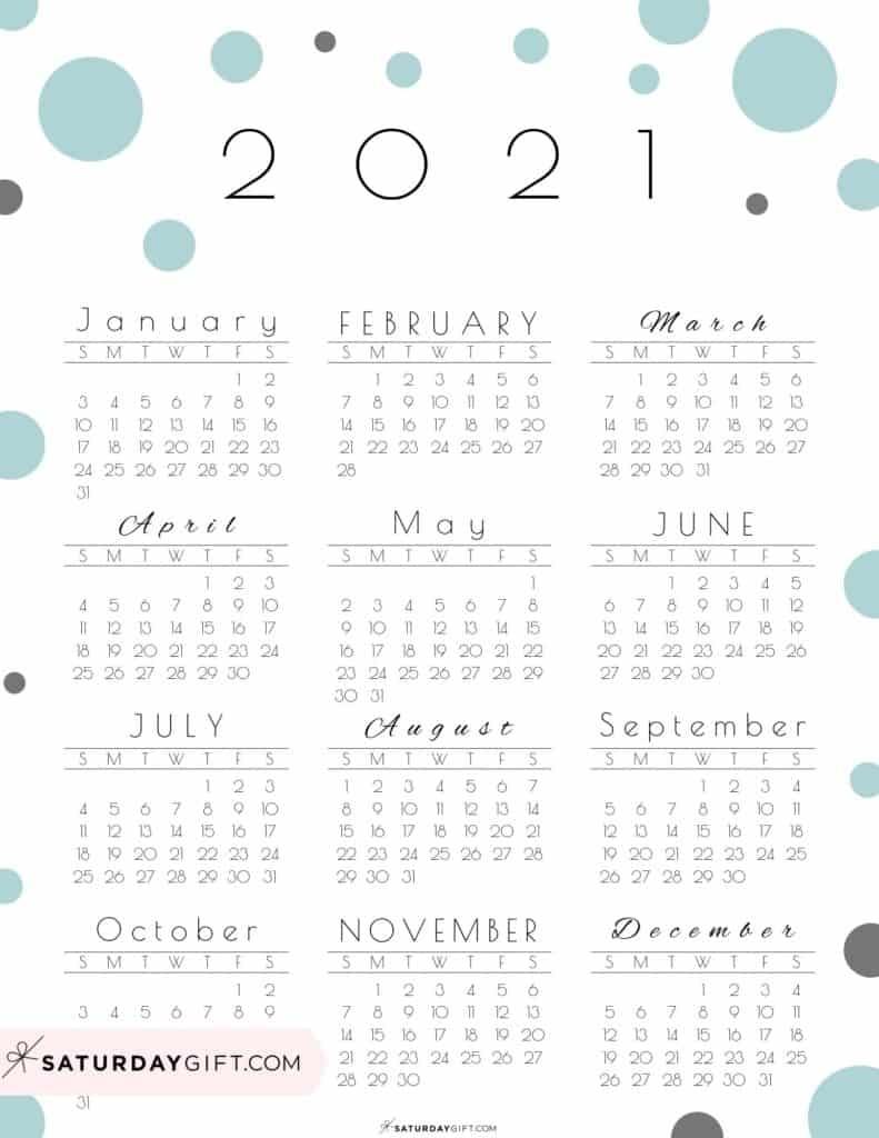 Cute (& Free!) Printable Year At A Glance 2021 Calendar