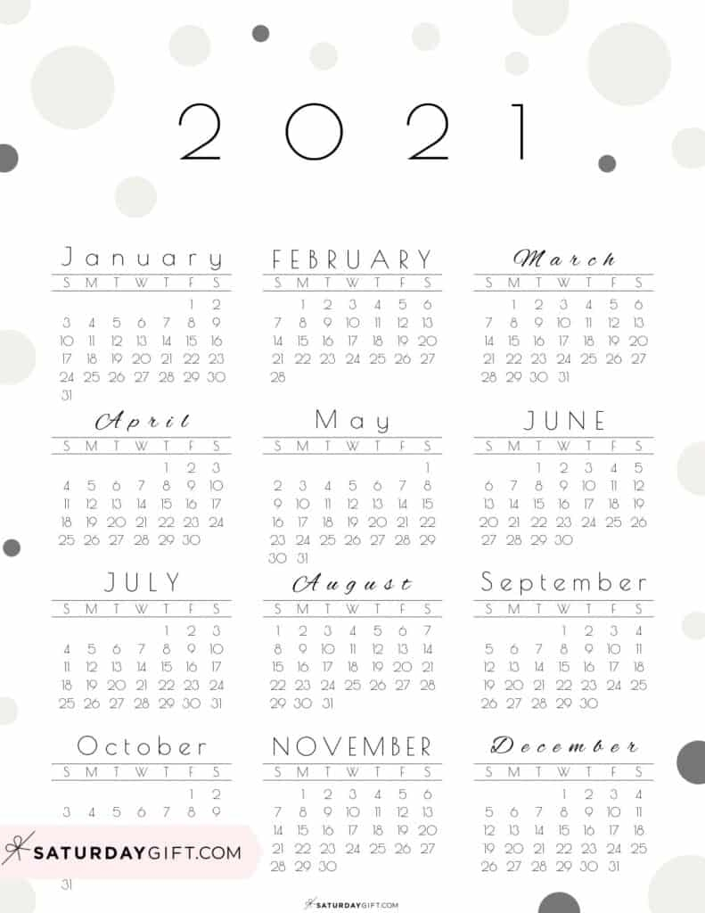 Cute (& Free!) Printable Year At A Glance 2021 Calendar