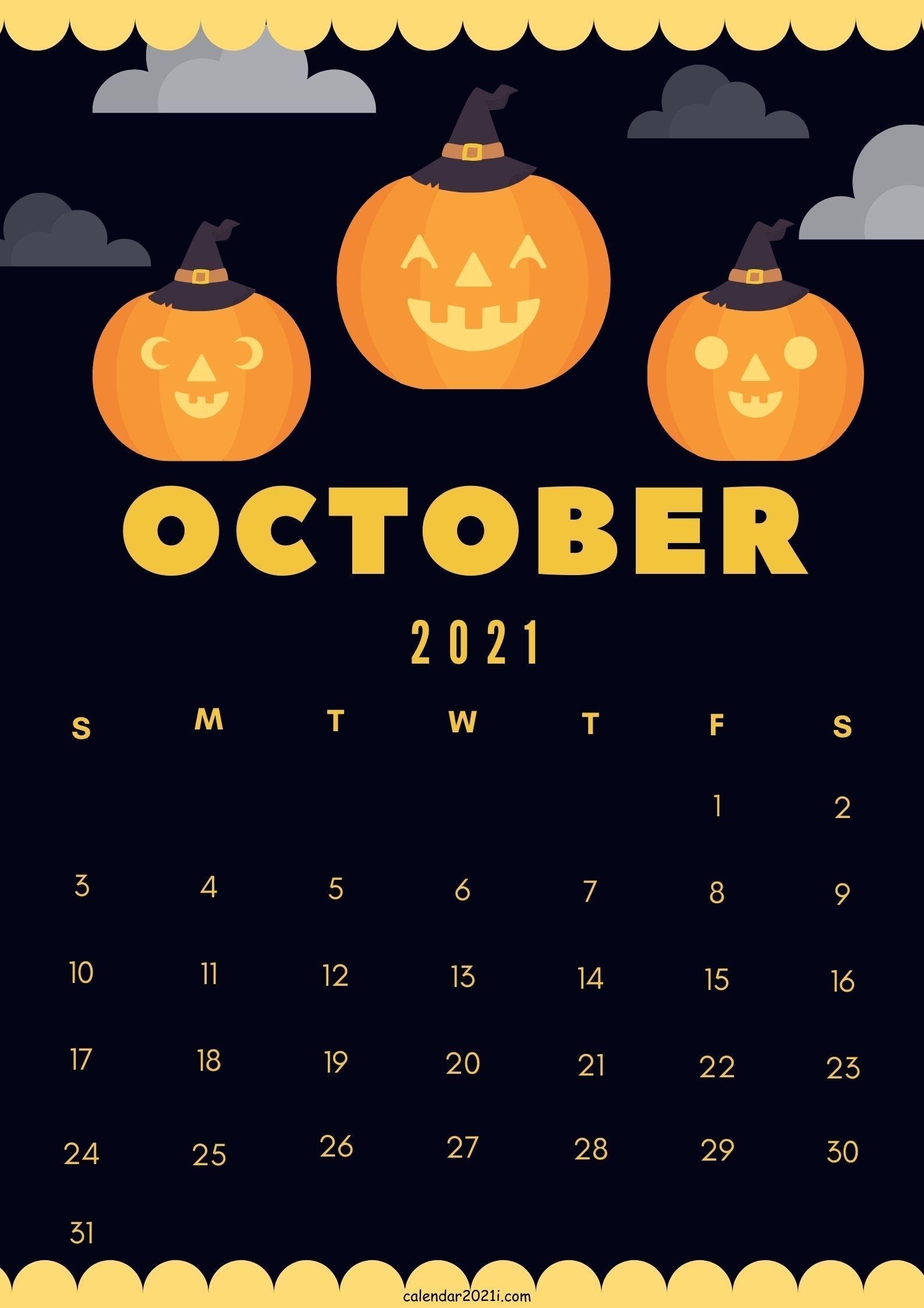 Cute October 2021 Calendar Design Diy Theme Layout Free