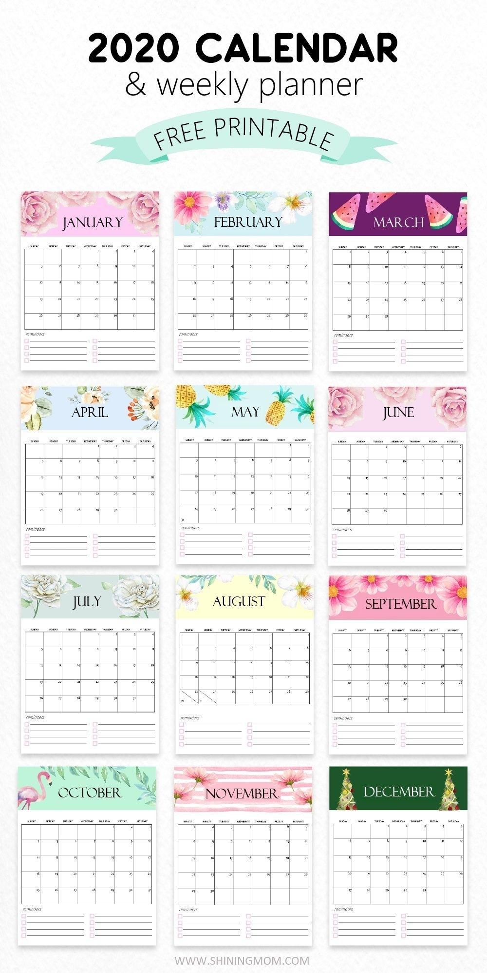 Cute Stuff | Monthly Calendar Printable, Print Calendar