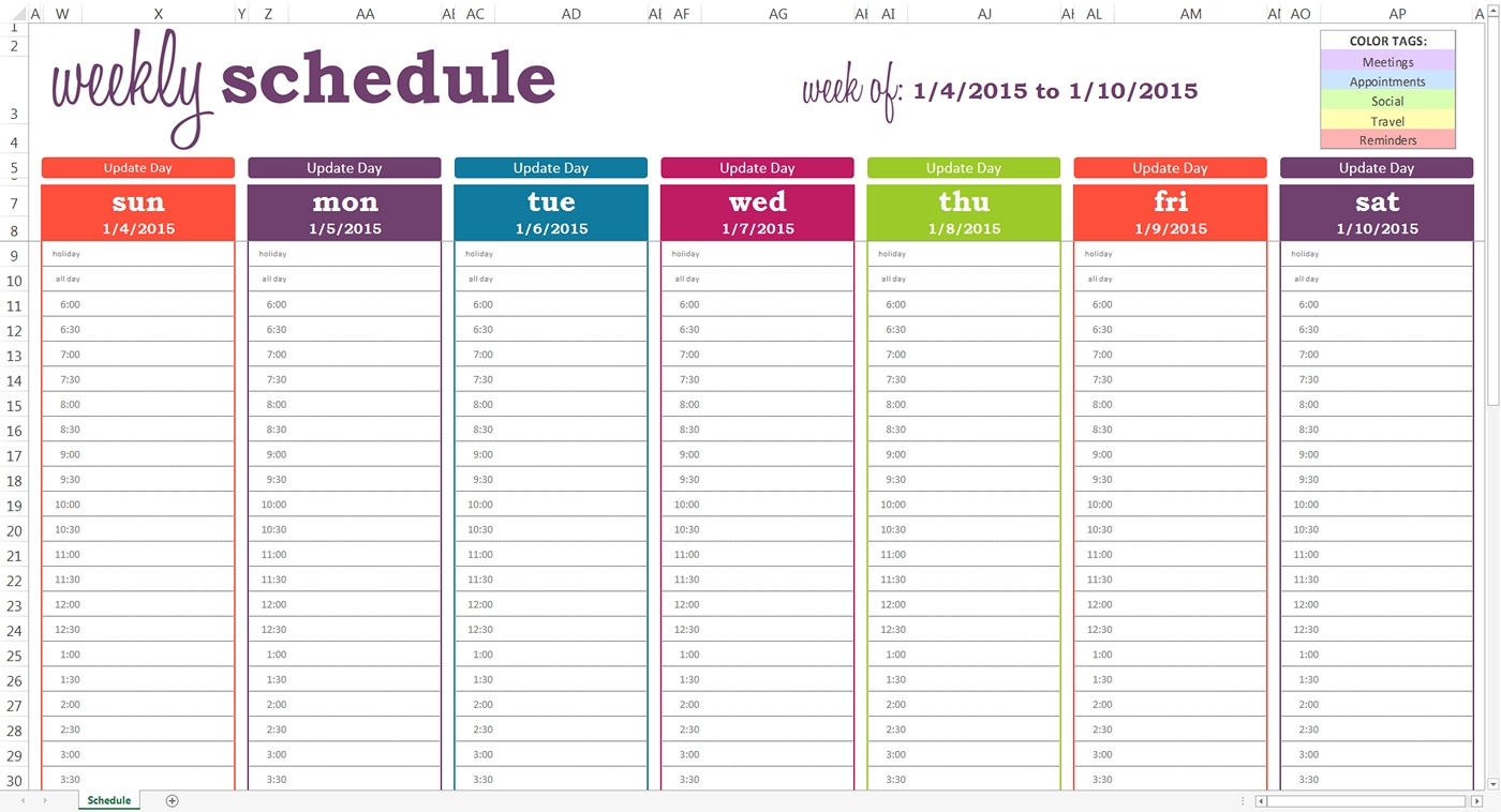Daily Planner With Time Slots Template – Printable June July
