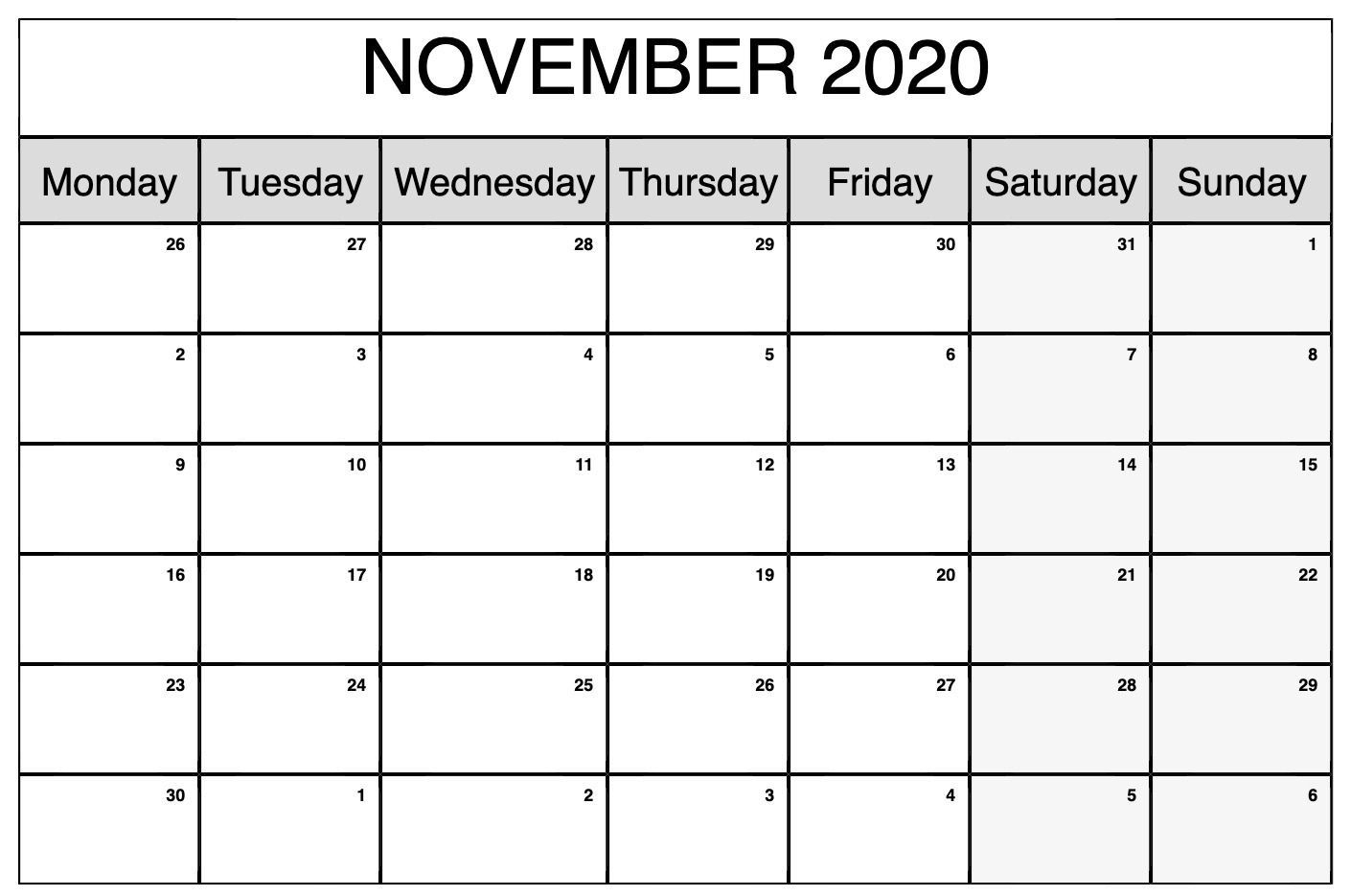 Dashing Monthly Monday To Sunday Calendars 2020 Printable