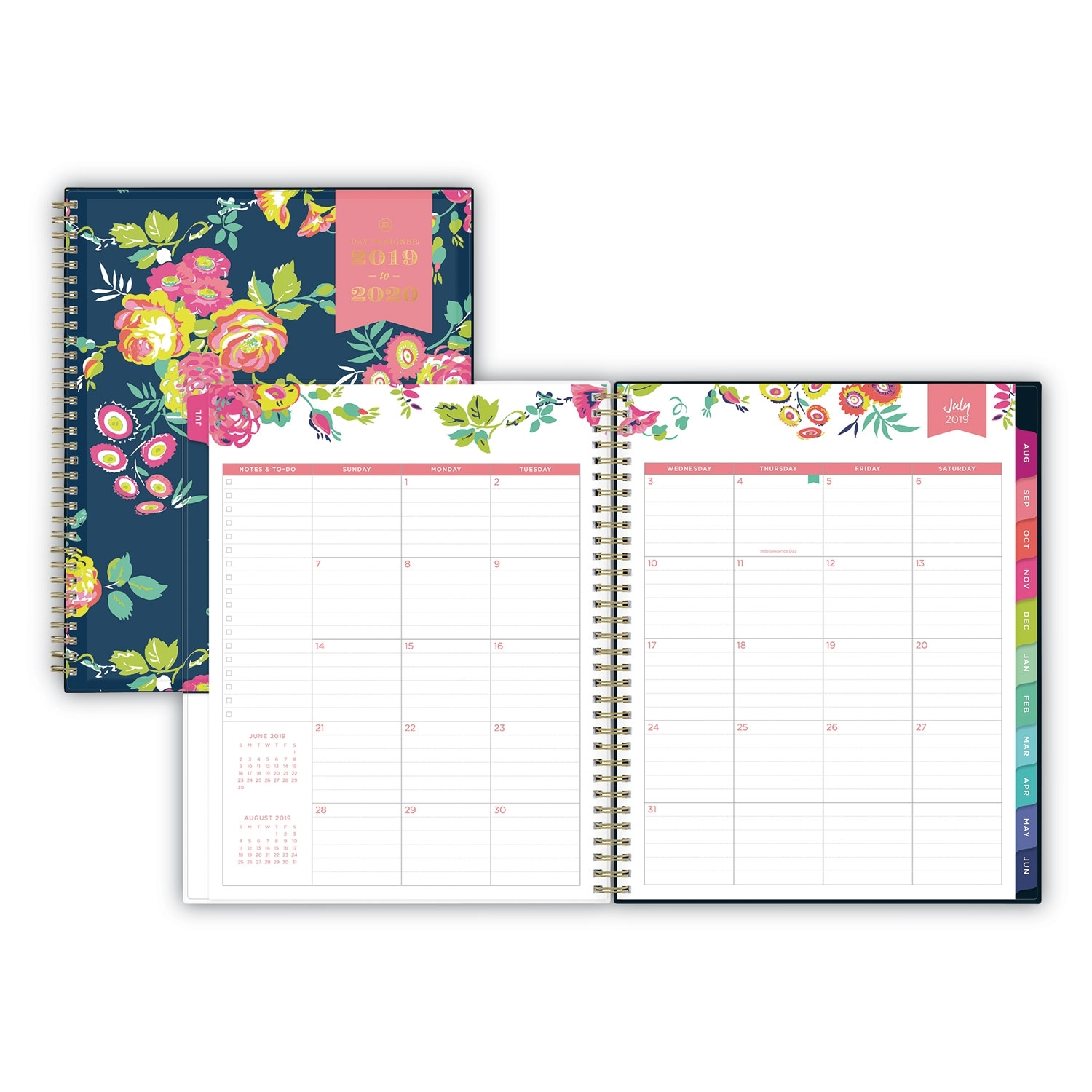 Day Designer Academic Year Cyo Weekly/Monthly Planner, 11 X 8.5,  Navy/Floral, 2020-2021