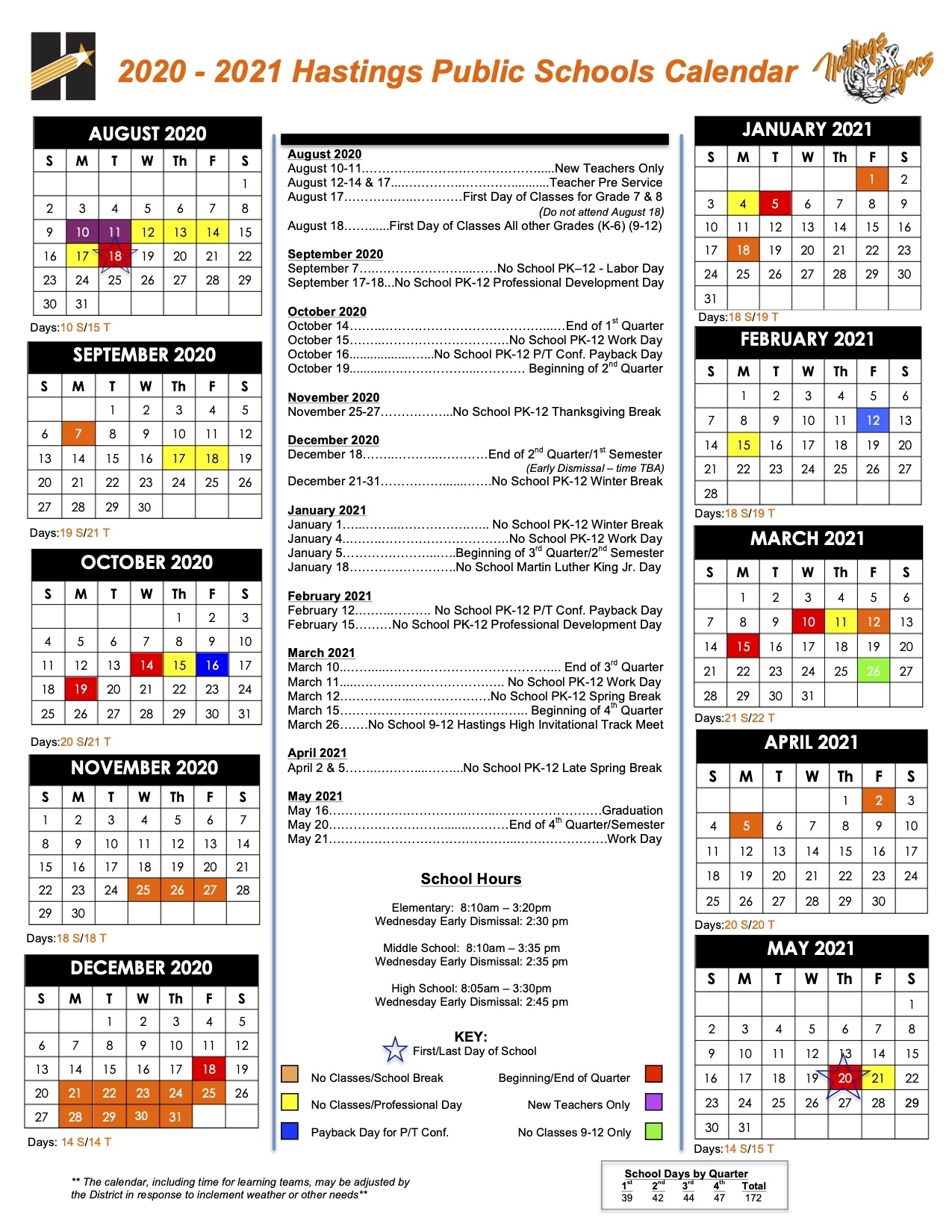 Days Of Attendance Calendar - Hastings Public Schools