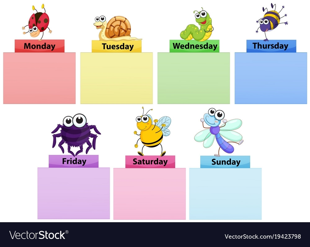 Days Week Banner Template With Colorful Royalty Free Vector