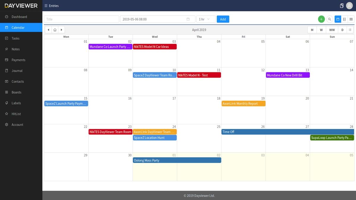 Dayviewer Online Calendar, Planner & Organizer