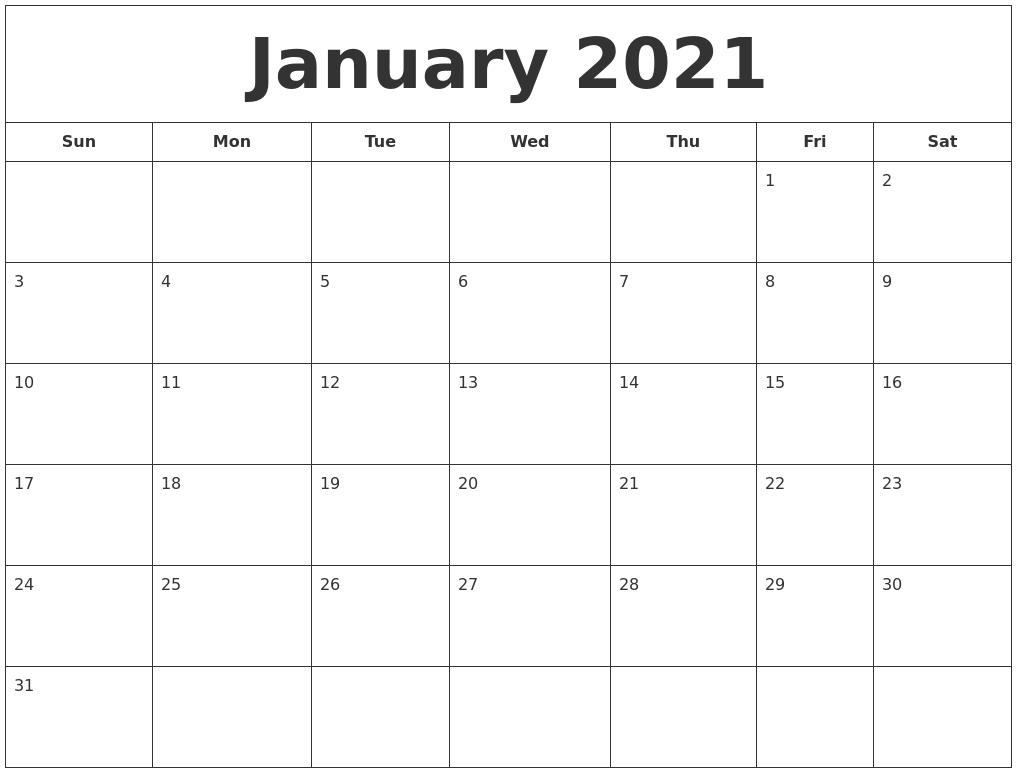 December 2020 Calendar, January 2021 Printable Calendar