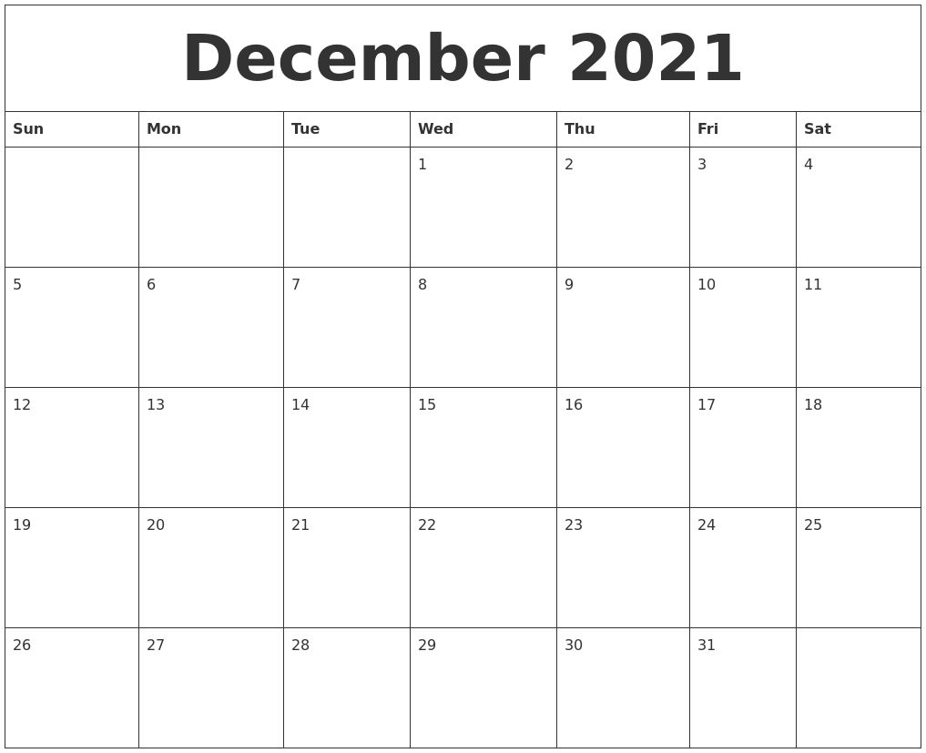 December 2021 Blank Monthly Calendar Template Get | Blank