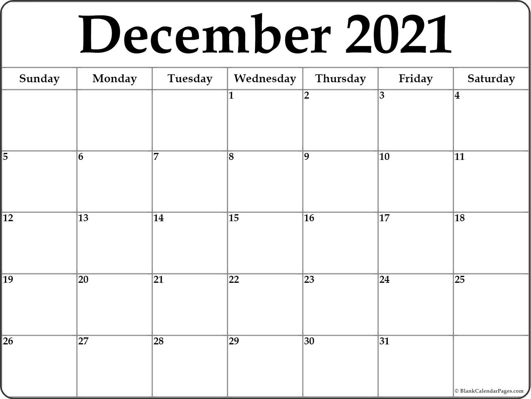 December 2021 Calendar | Free Printable Monthly Calendars