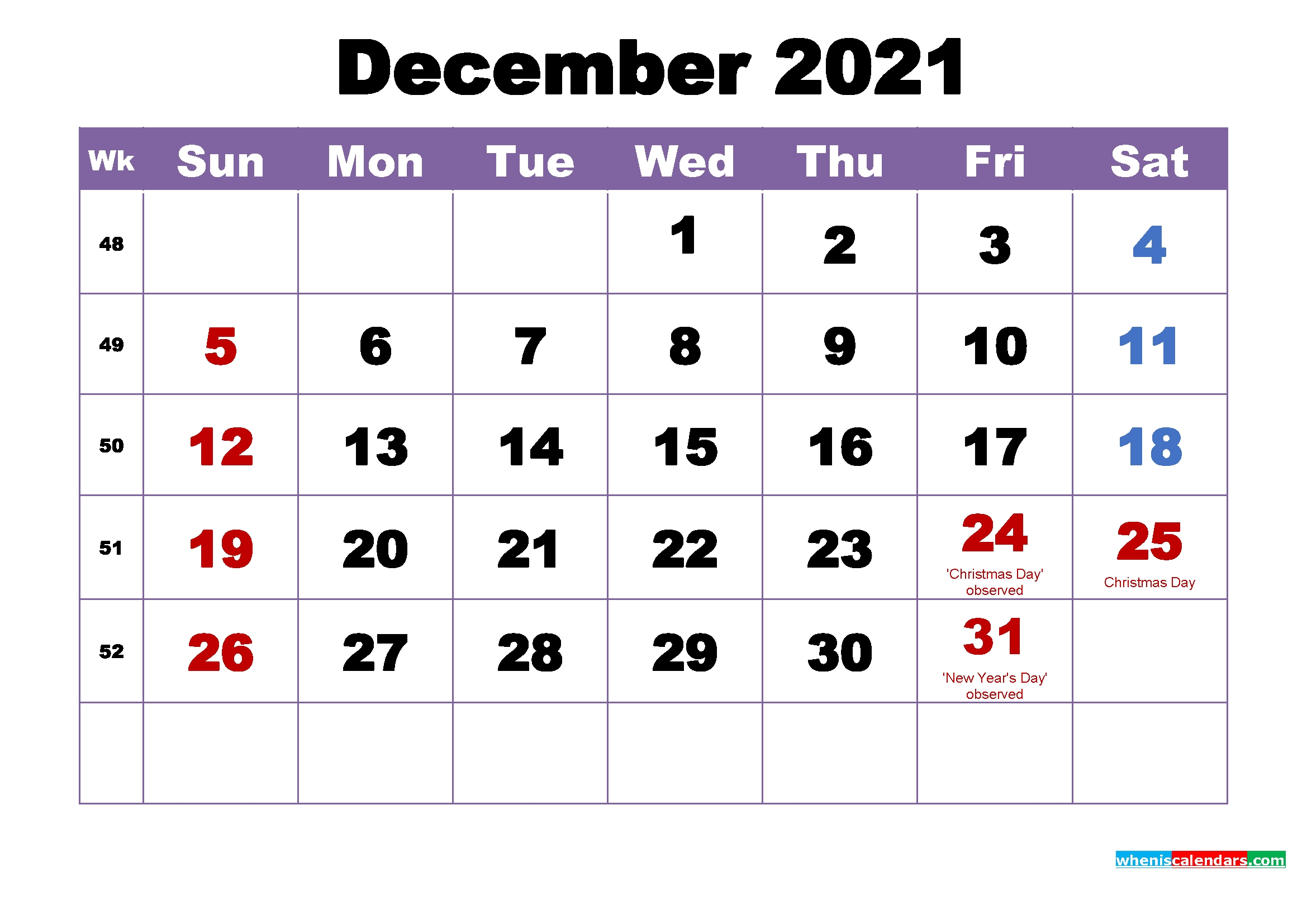 December 2021 Printable Calendar With Holidays Word, Pdf