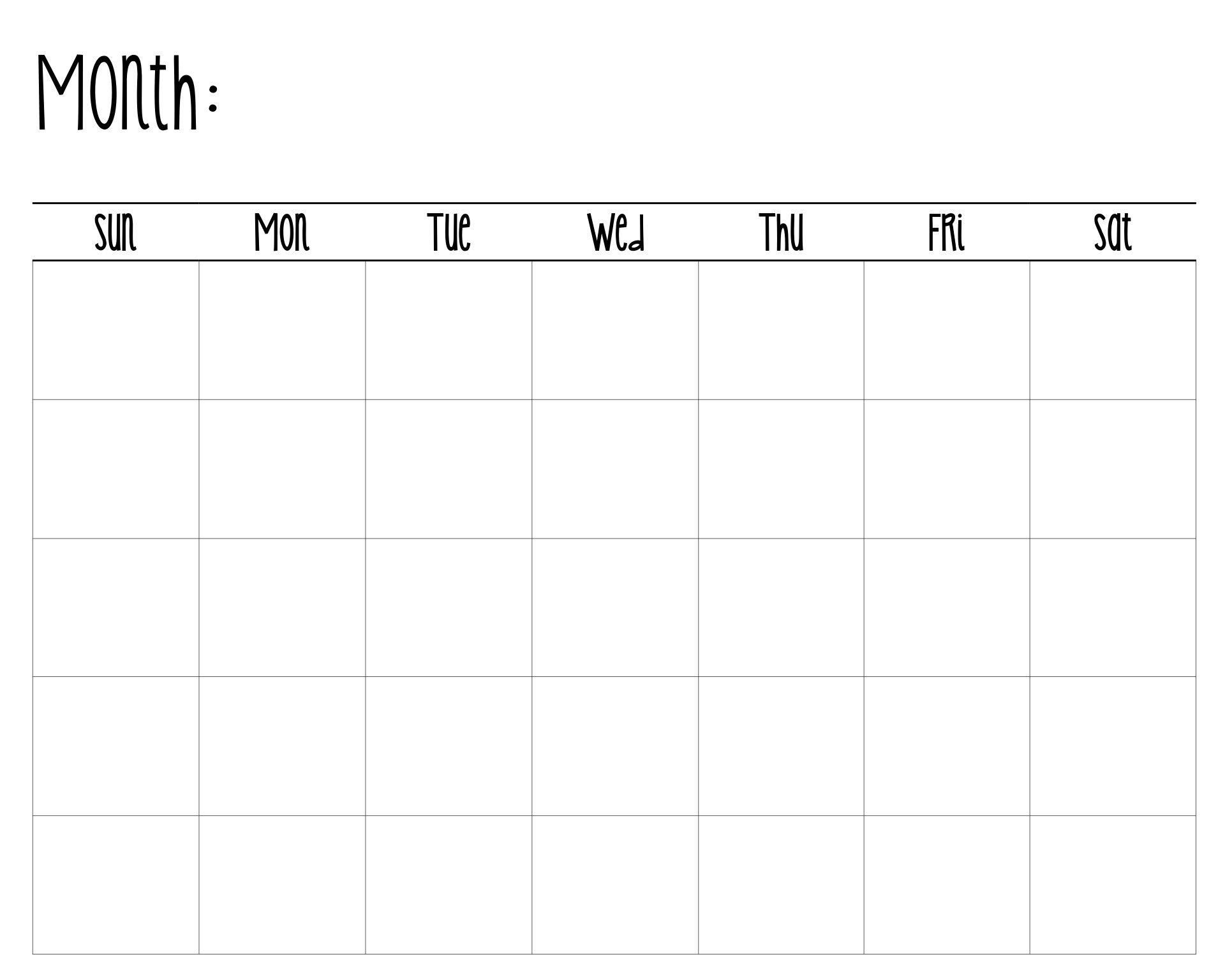 Digital Download Blank Calendar Instant Download Diy | Etsy