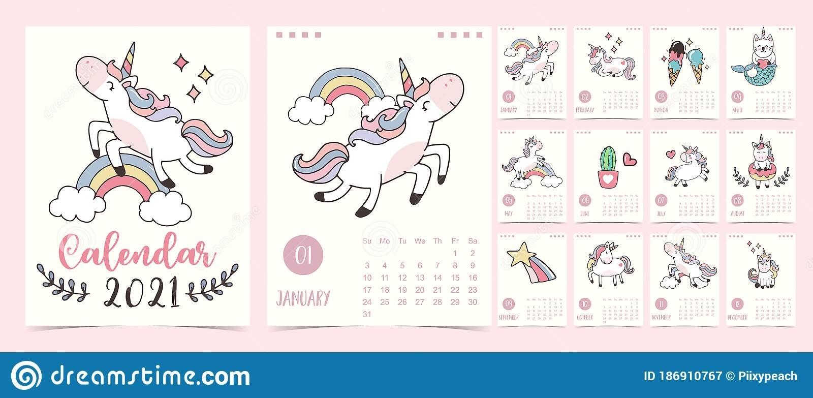 Doodle Pastel Calendar Set 2021 With Unicorn,Rainbow,Ice