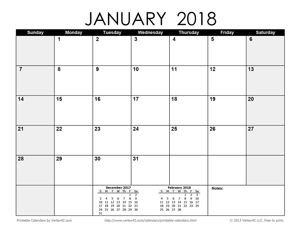 Download A Free Printable Monthly 2018 Calendar From