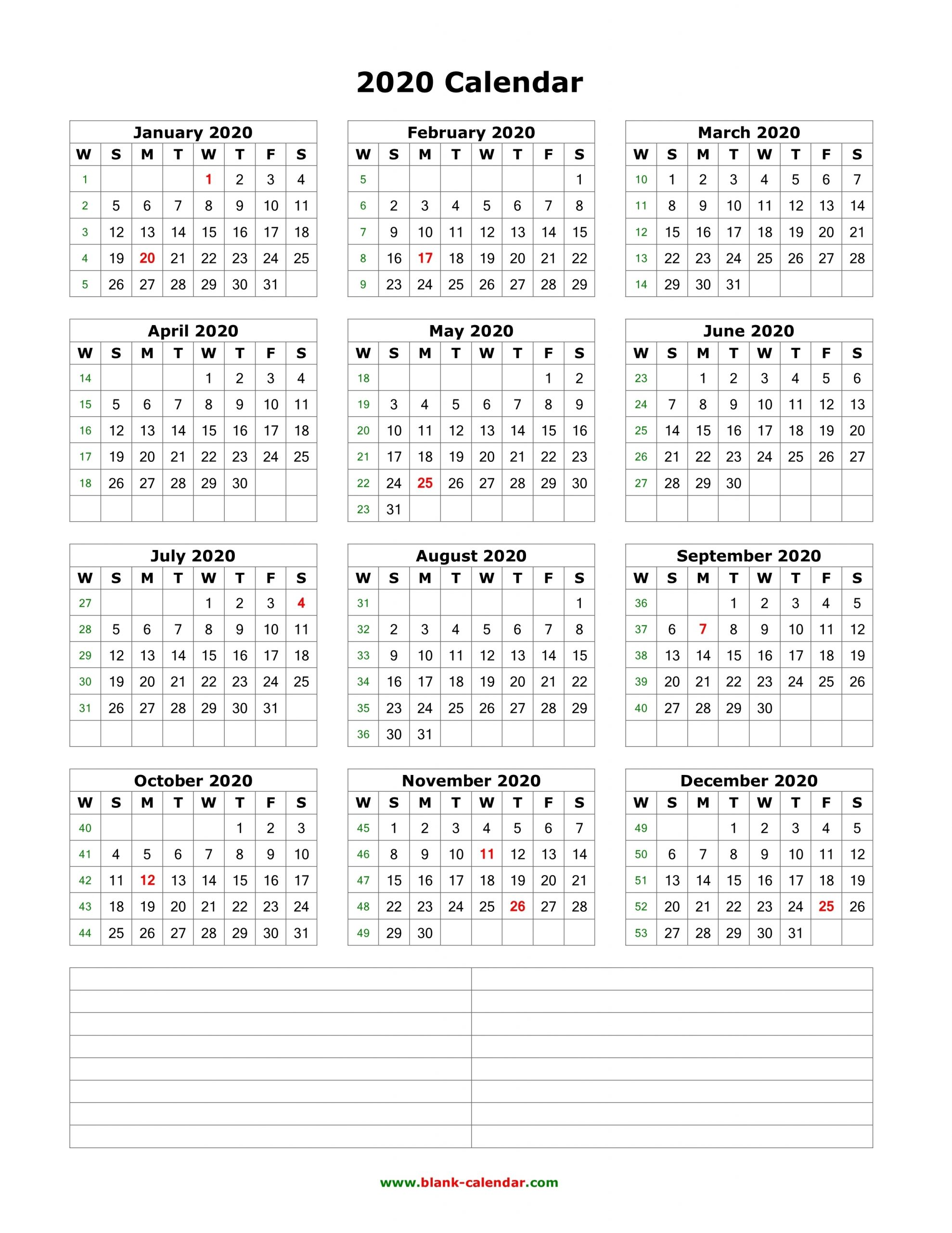 Download Blank Calendar 2020 With Space For Notes (12 Months