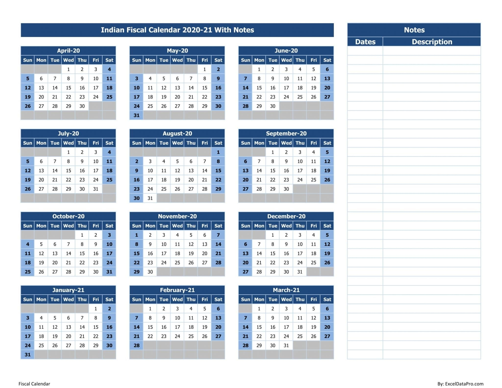 Download Indian Fiscal Calendar 2020-21 With Notes Excel