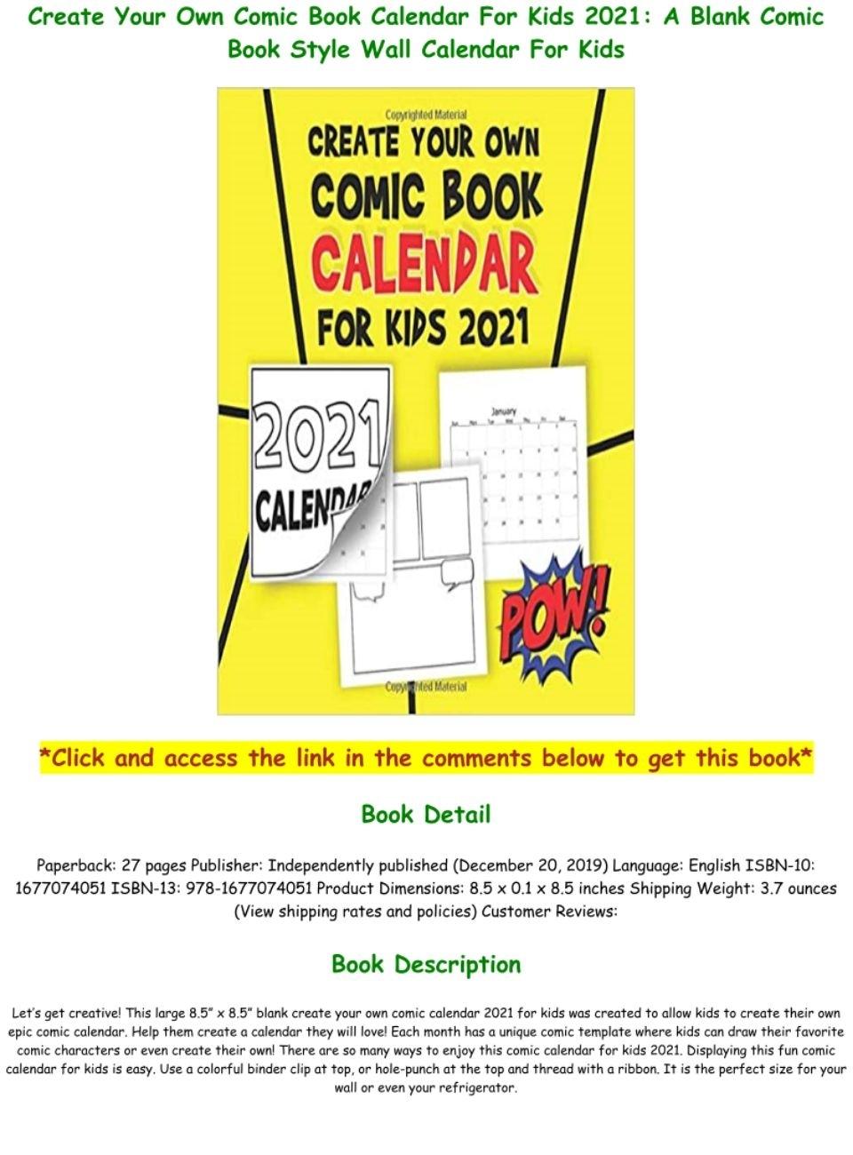 E-Book$ F.r.e.e Create Your Own Comic Book Calendar For Kids