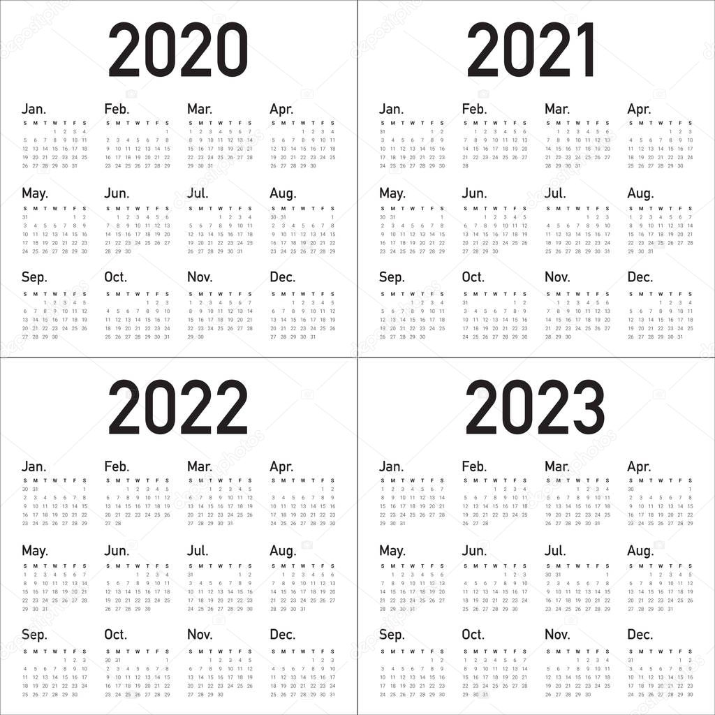 ✅ Year 2020 2021 2022 2023 Calendar Vector Design Template