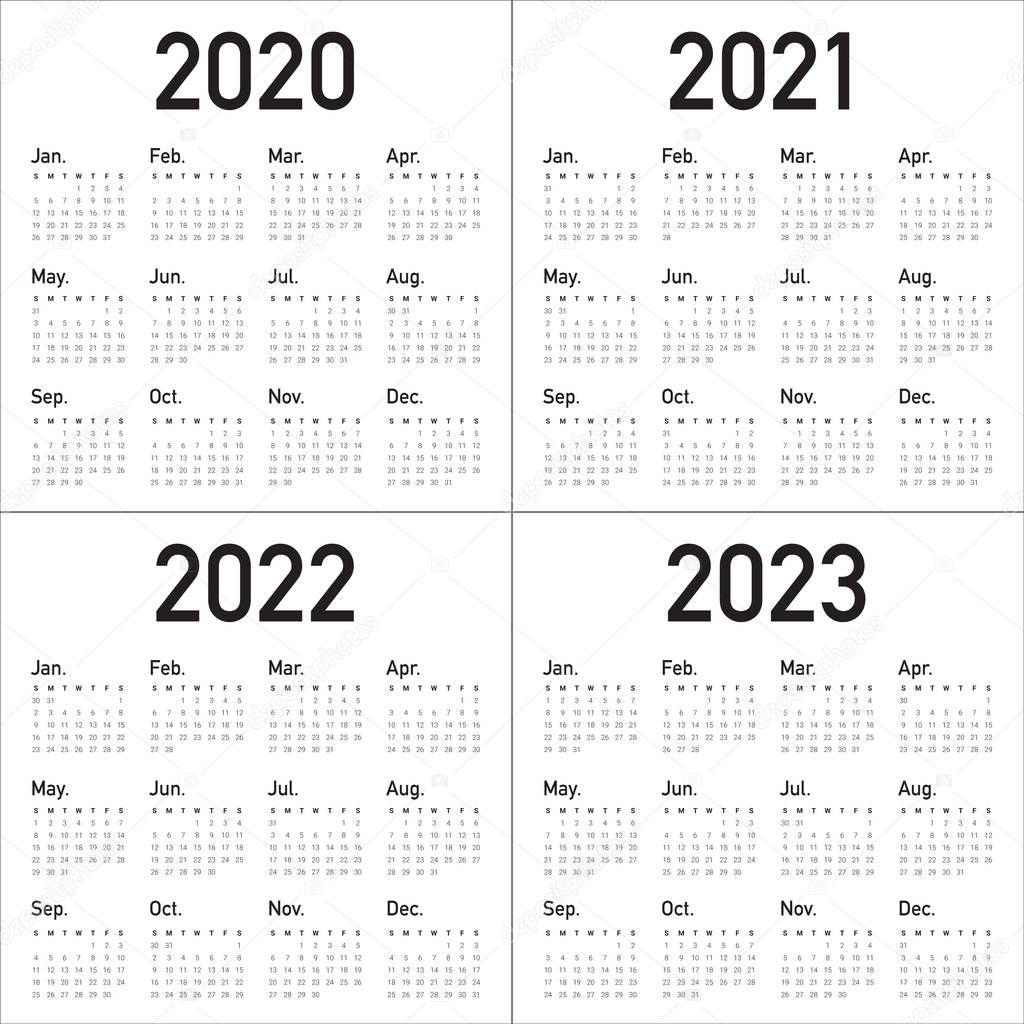 ✅ Year 2020 2021 2022 2023 Calendar Vector Design Template