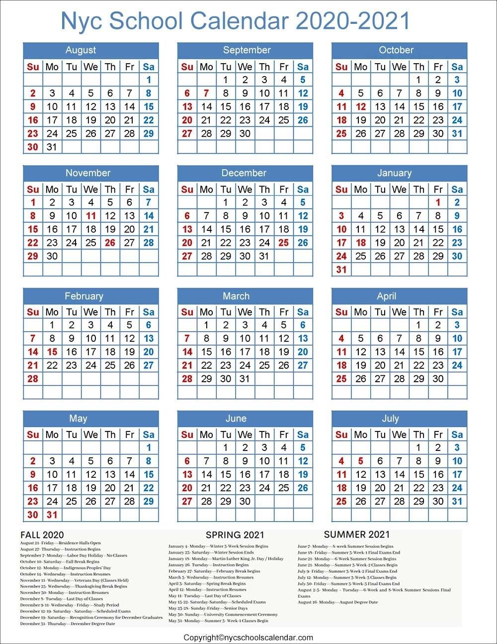 ❤️Nyc School Holidays Calendar 2020-2021 ✅