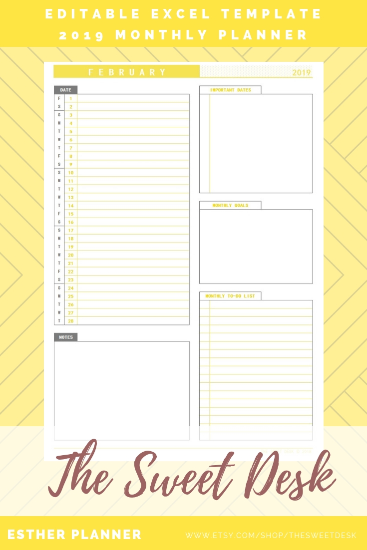 Editable 2019 Monthly Planner, Printable Vertical Monthly