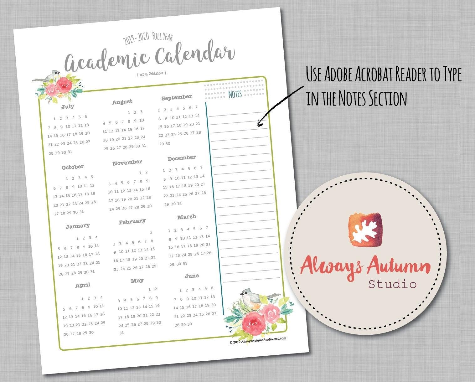 Editable And Printable 2019-2020 Academic Calendar Year At A Glance, July  Start, Teacher / Homeschool / Student Vertical 8.5X11 Pdf