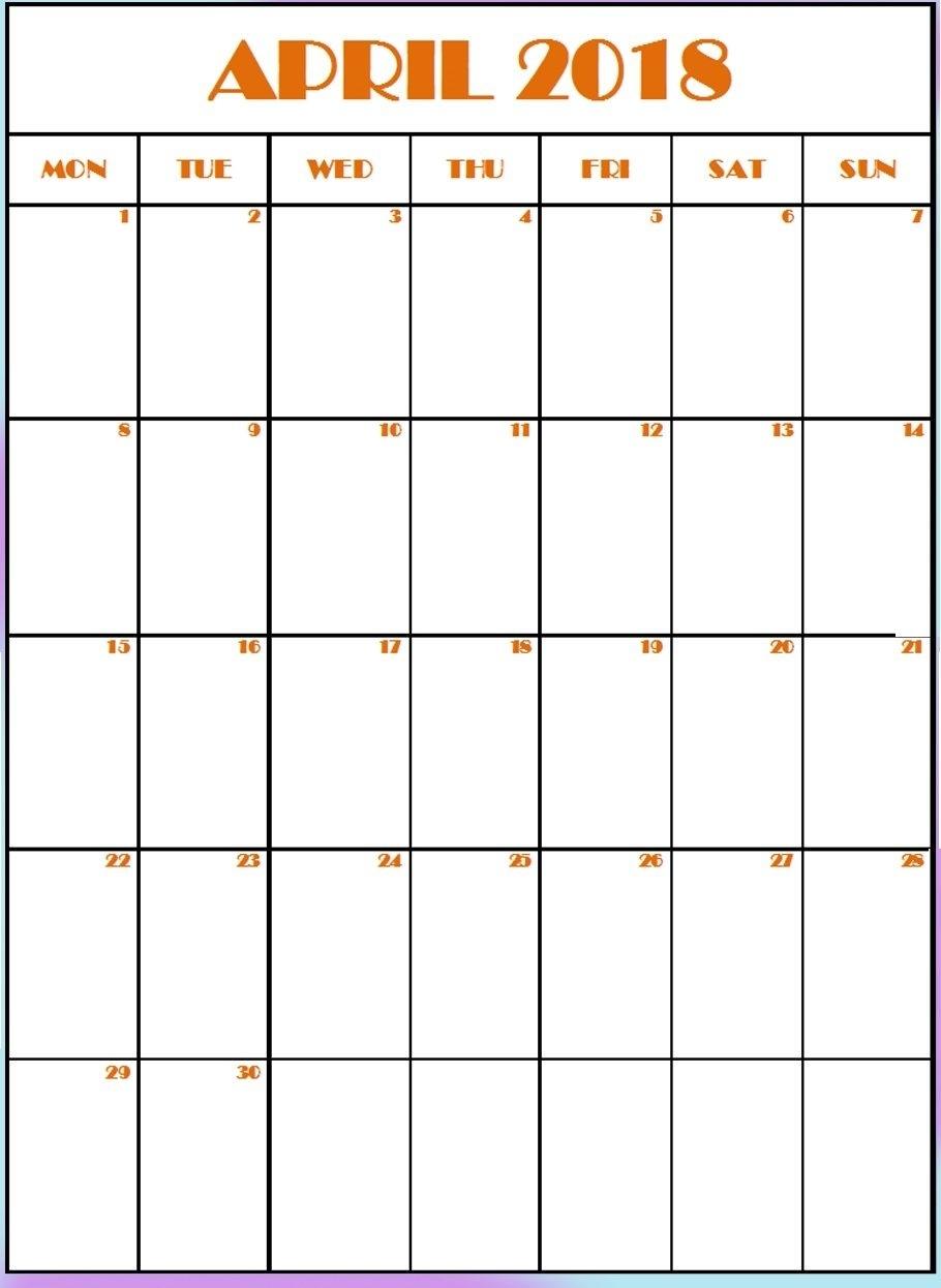 Editable April 2018 Vertical Calendar | Calendar, Routine