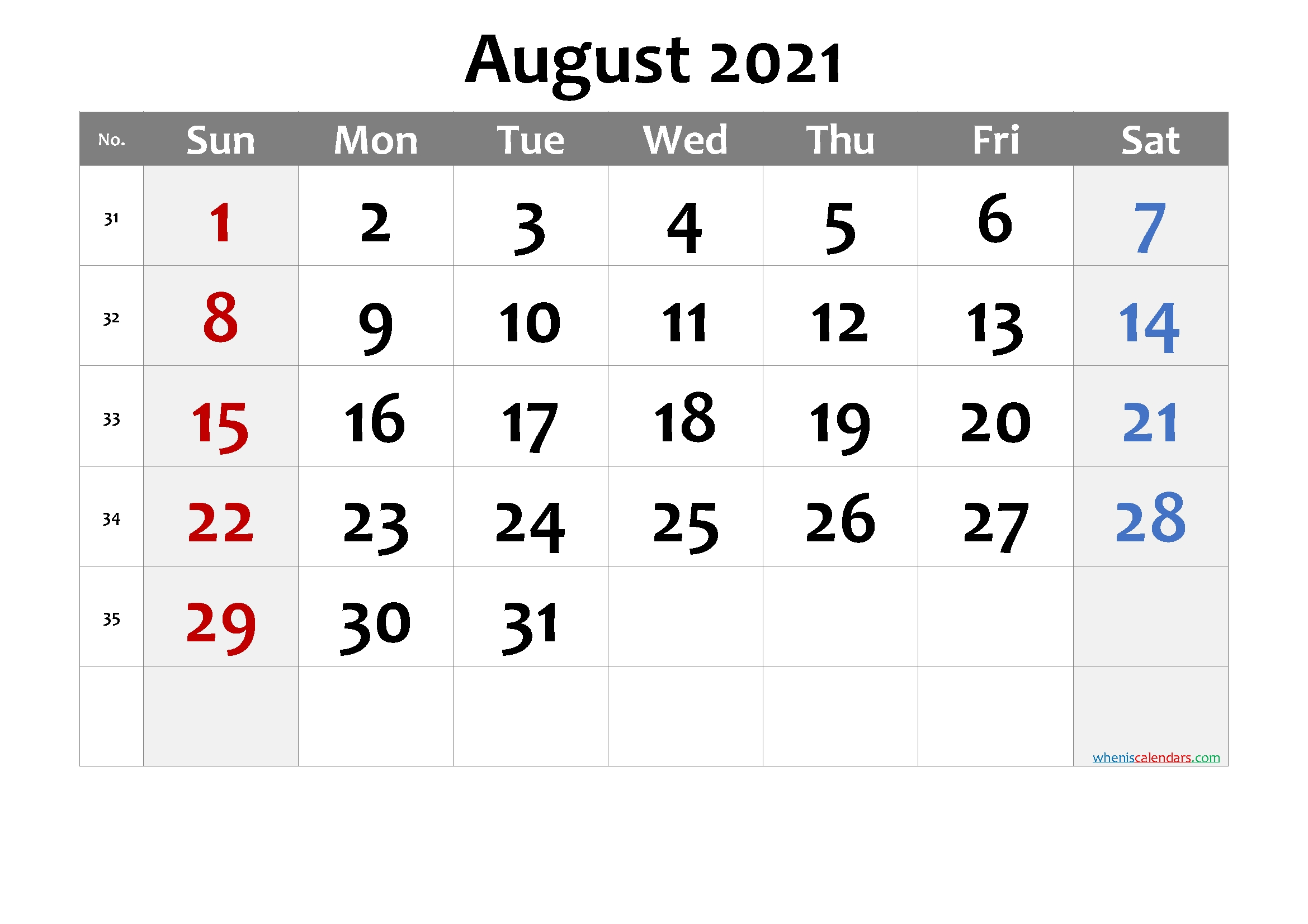 Editable August 2021 Calendar-Template No.cd21M20 – Free