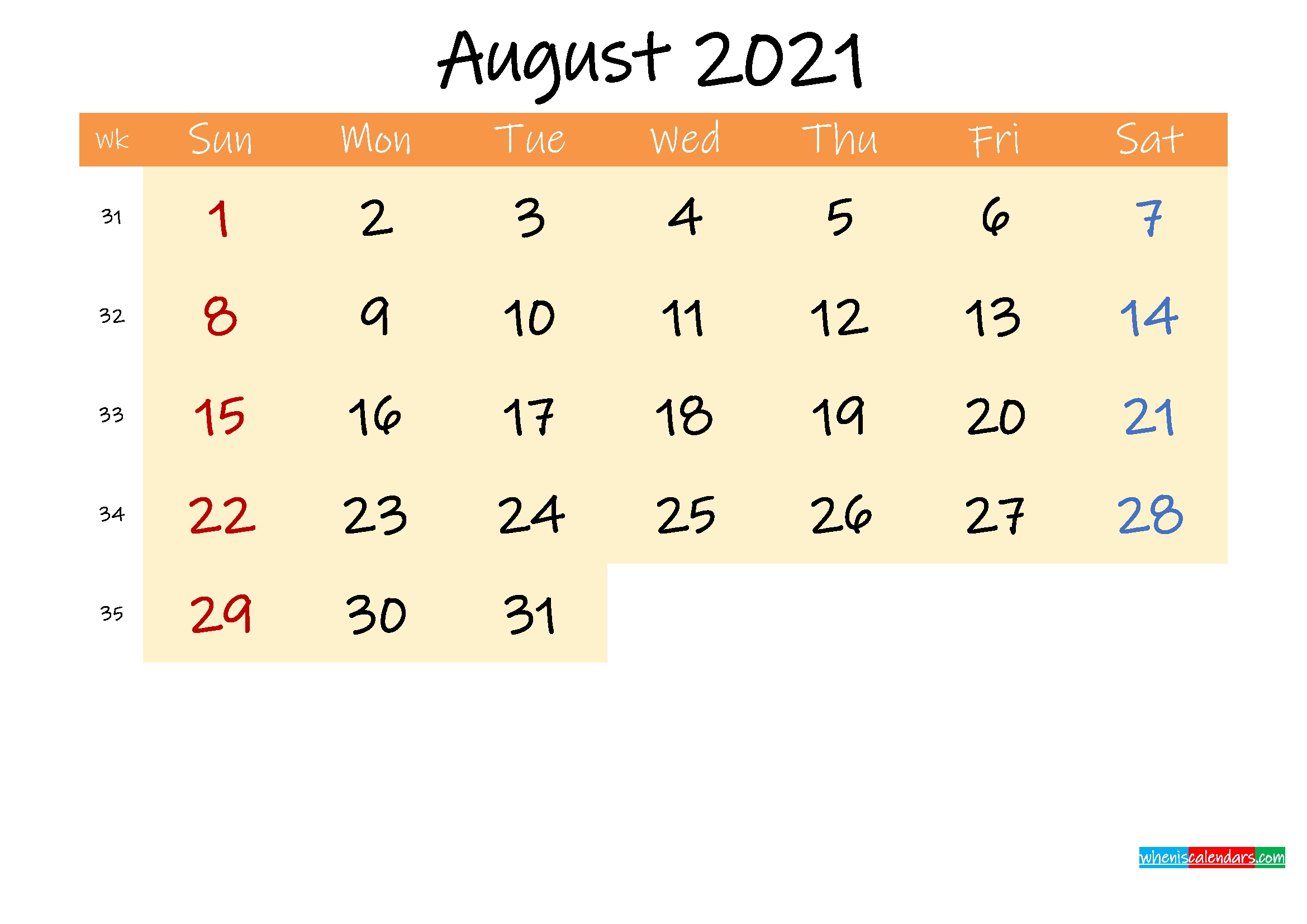 Editable August 2021 Calendar – Template No.ink21M248 – Free