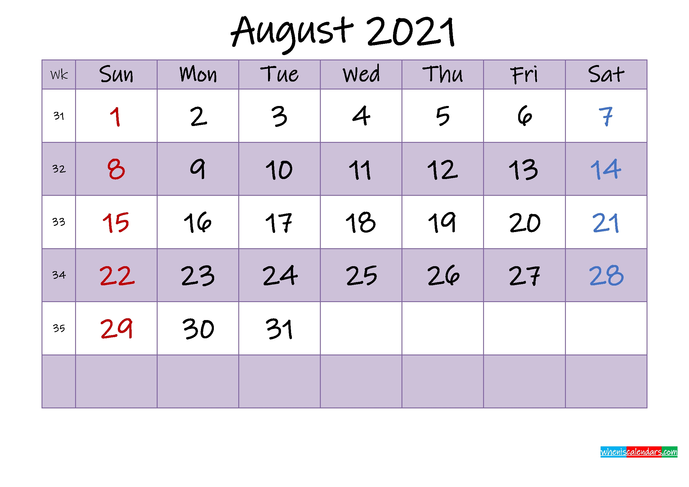 Editable August 2021 Calendar – Template No.ink21M464 – Free