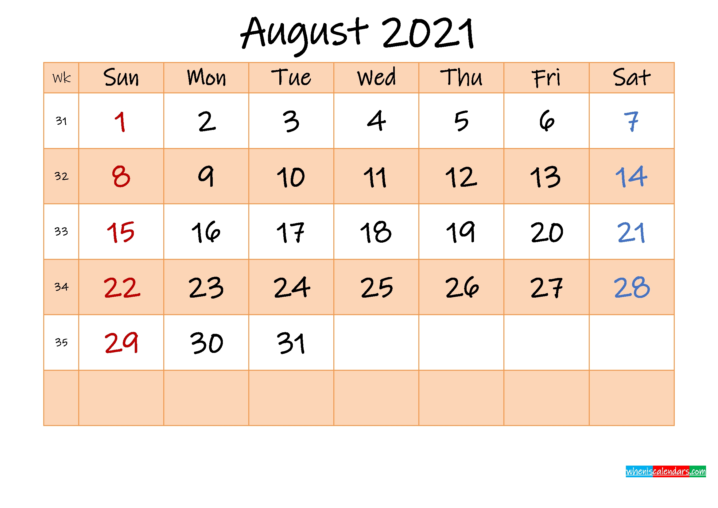 Editable August 2021 Calendar – Template No.ink21M488 – Free