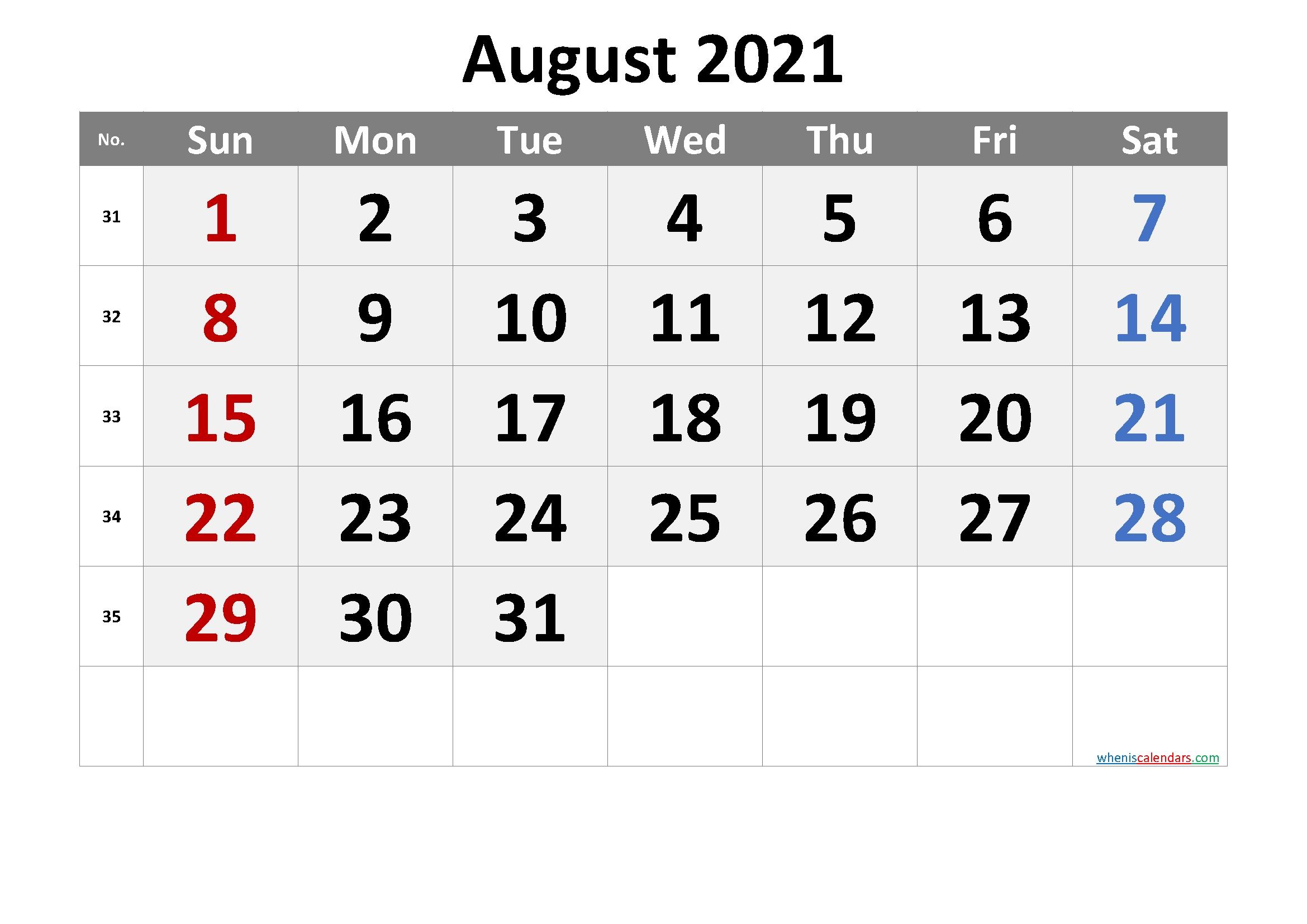 Editable August 2021 Calendar Word-Template No.cr21M68