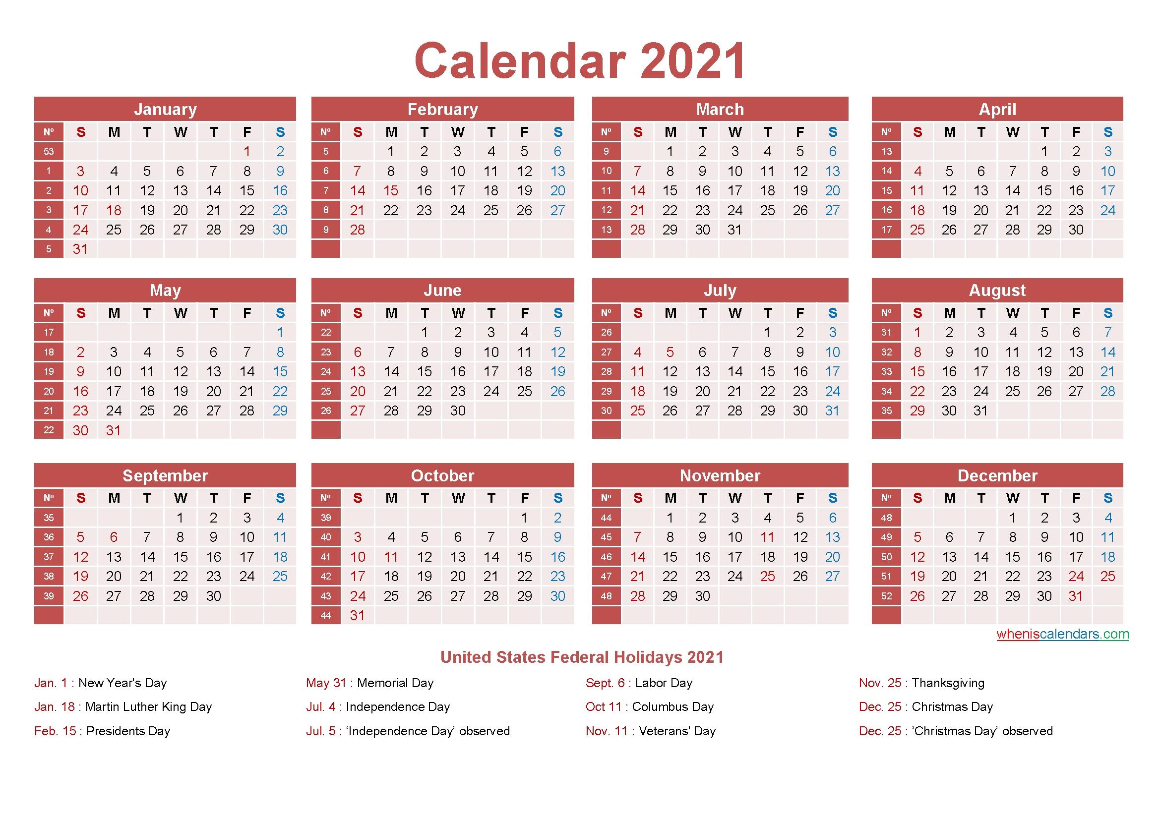 Editable Calendar Template 2021 Word – Template No.ep21Y9