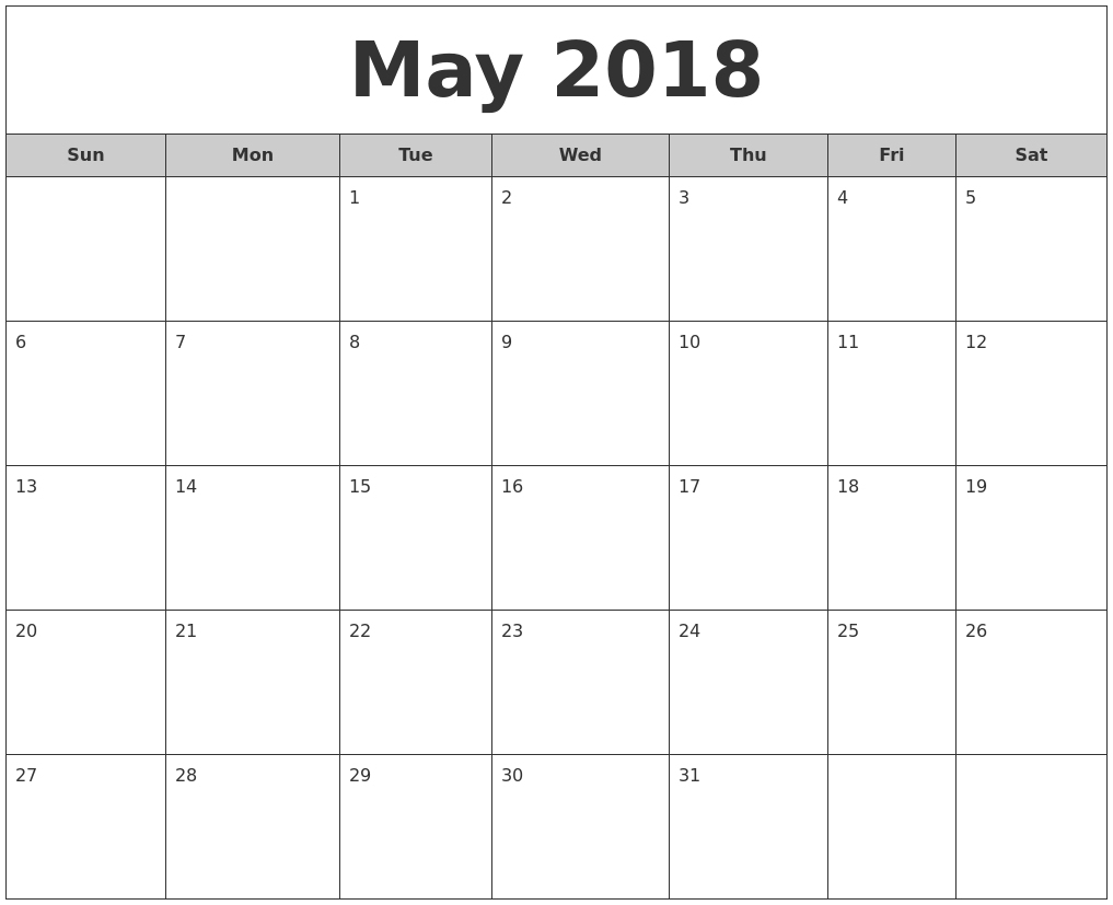 Editable May 2018 Google Calendar | Excel Calendar Template