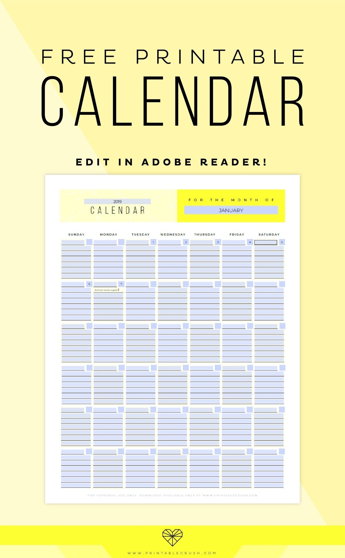 Editable Perpetual Calendar Printable Set | Monthly Calendar
